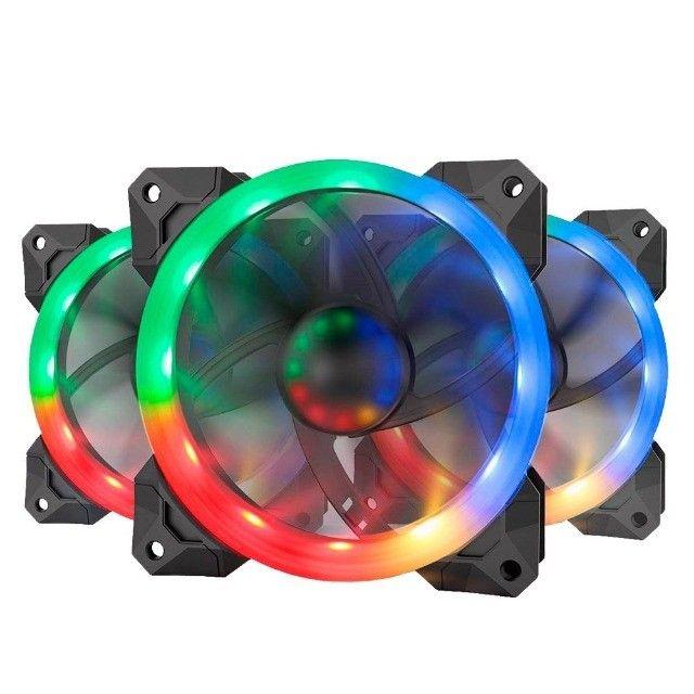 Kit Fan 3 Unidades Com Controladora RGB 120mm GC-F008 Redragon