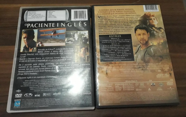 Gladiador e O Paciente Inglês DVDs originais usados - Foto 2