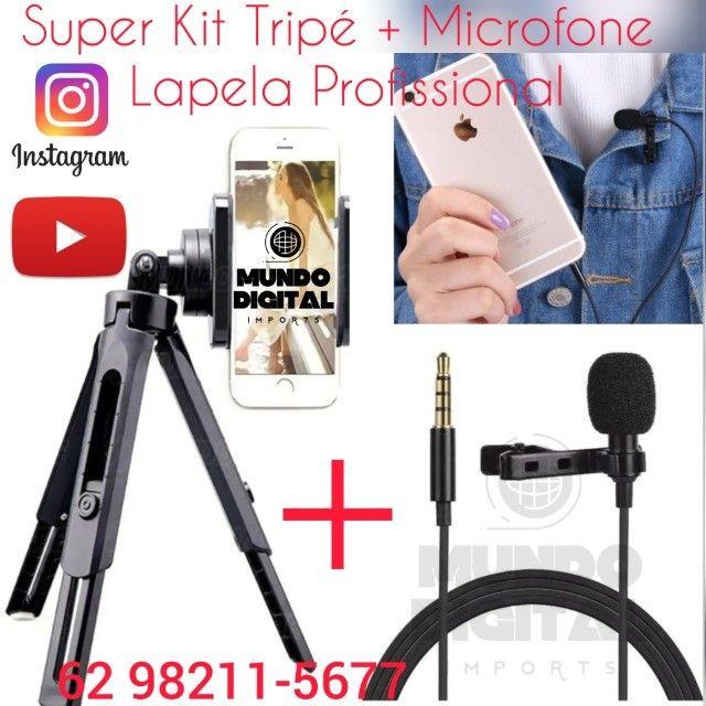 Kit YouTube 2 in 1 Mini tripé resistente mais Microfone lapela profissional