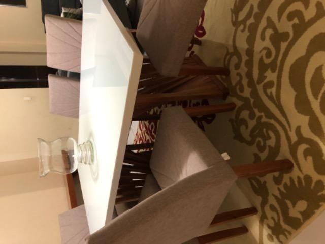 Mesa em laka branca e madeira maciça com console. - Foto 6