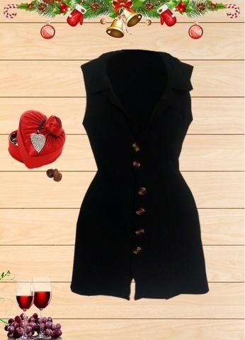Vestido Curto preto com Botoes