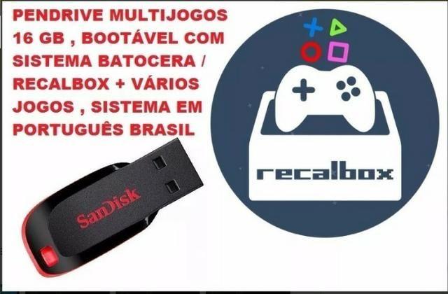 Pendrive 16gb Bootável Multijogos Recalbox V/T video game xbox playstation  emuladores
