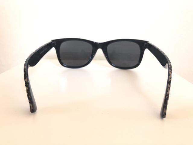 Óculos De Sol Preto. Unissex. Armação Em Acetato com Detalhe Étnico - Foto 4