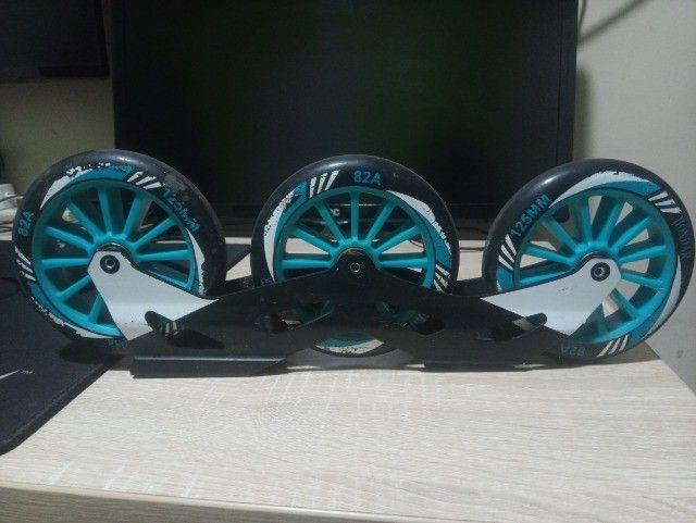 Base P/ Patins Roller Hd Inline 125mm Rodas Hd 82a Abec-9 - Foto 2