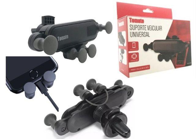 Suporte Celular Veicular Universal p Ar Condicionado c/ trava antiqueda - MTG-065 Tomate