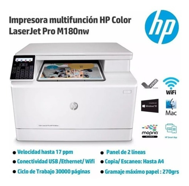 Multifuncional hp laserjet color pro m180nw - 110v