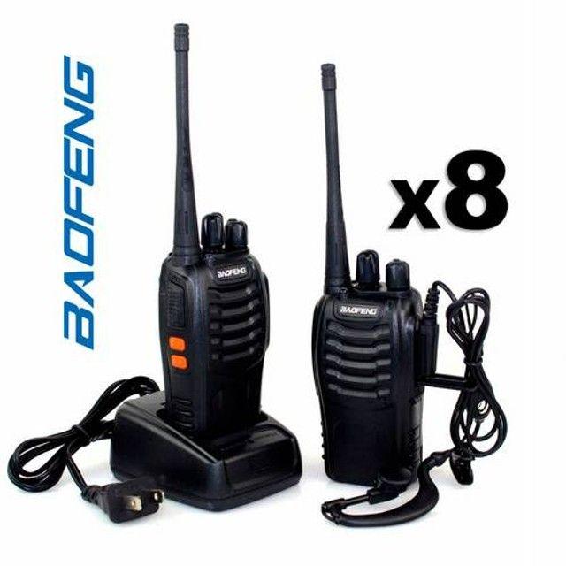 Kit 8 Rádios Comunicador HT Walk Talk UHF 16 Canais Profissional + Fone Baofeng BF-777 - Foto 2