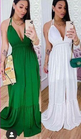 Vestido longo frente unica preto, branco e verde. Tam médio.  - Foto 4