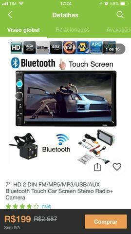 Kit Multimídia 7?? HD FM/MP3/MP5/USB/AUX/BLUETOOTH com Câmera de Ré