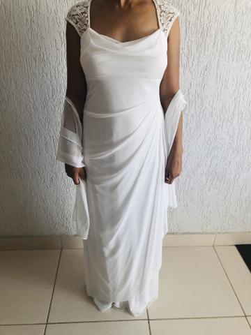 Vendo vestido branco longo. Usado uma vez. Social. - Foto 6