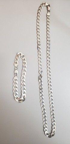 Pulseira e corrente de prata masculina 925