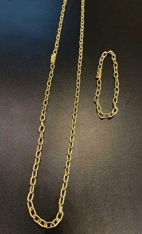Conjunto cadeado de moeda antiga idêntica a ouro com garantia eterna 5mm
