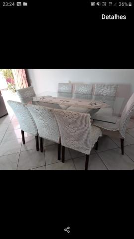 Mesa de vidro 8 cadeiraa