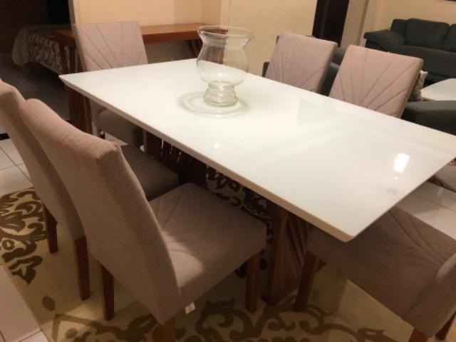 Mesa em laka branca e madeira maciça com console. - Foto 3