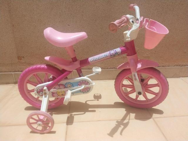 Bicicleta Infantil Aro 12 Nathor Flower Rosa