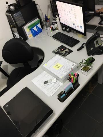 Mesa para Escritório em L Angular Pé Metalico 135cmx135cm - Foto 2
