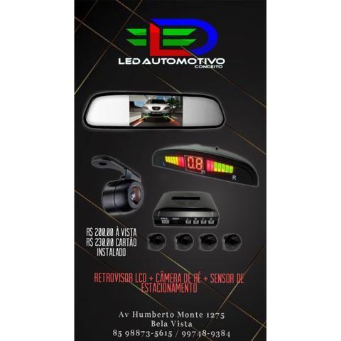Retrovisor LCD + Câmera de Ré + Sensor de Estacionamento