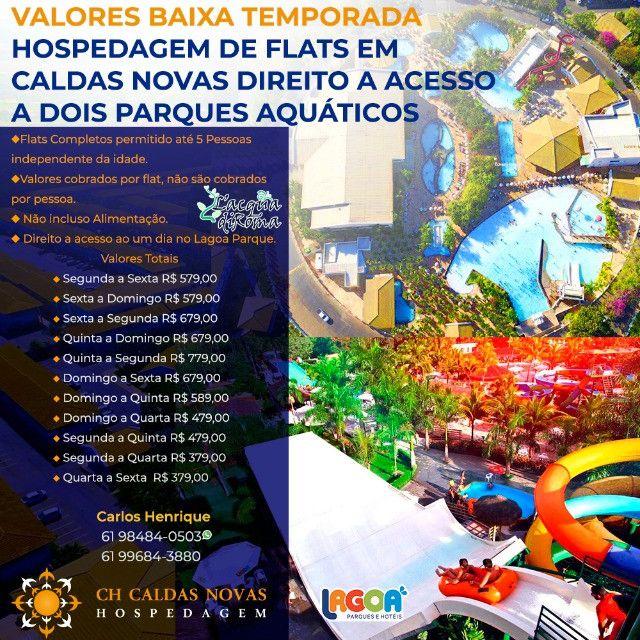 Que Tal? Ter acesso a dois Maravilhosos Parques Aquáticos Hospedagem em Caldas Novas - Foto 2