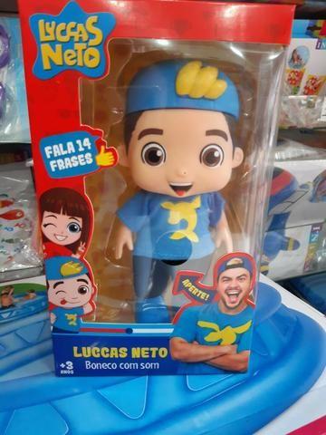 Super Boneco Com Som Lucas Neto Azul Fala 14 Varias Frases