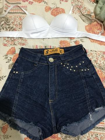 Vendo bermudinha 34 pequena cropped P - Foto 2
