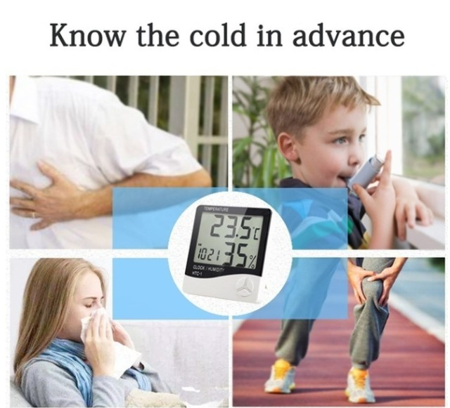 Termo Higrômetro Medidor Temperatura Umidade Relógio Digital - Foto 4
