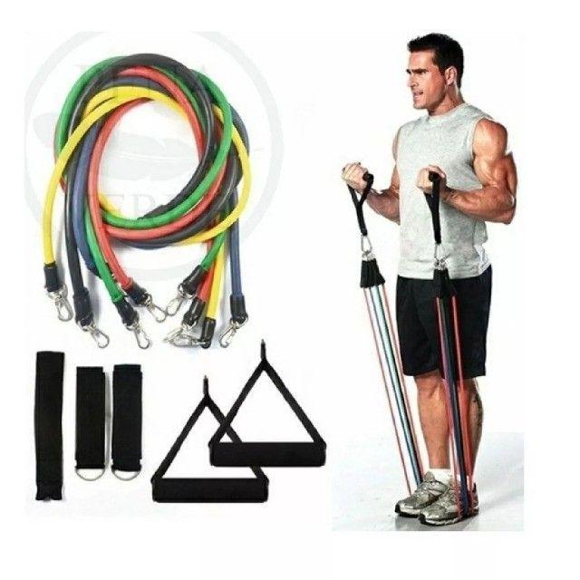 Kit Elástico Extensor 11 Itens Musculação Funcional em Casa JT-003 elástico exercício - Foto 2