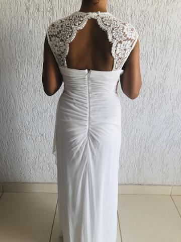 Vendo vestido branco longo. Usado uma vez. Social. - Foto 3