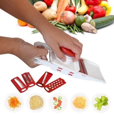 Fatiador De Frios Legumes Queijo Manual 5 Em 1 Picador Alho - Foto 3
