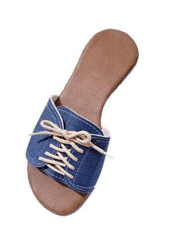 Sandália Rasteirinha Jeans com Cadarço Cód. Nc004 - Foto 2