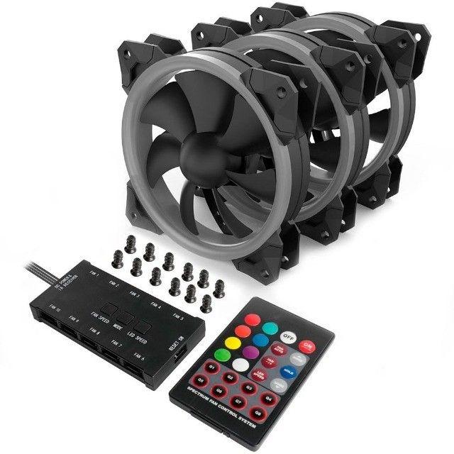 Kit Fan 3 Unidades Com Controladora RGB 120mm GC-F008 Redragon - Foto 3