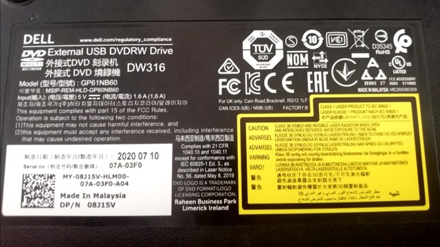 Dell External USB Slim dvd+/rw Optical Drive DW 316 - Foto 6