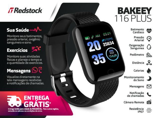 Entrega Grátis Maceió * Relógio Smartwatch Bakeey 116 Plus Batimentos Pressão Passos