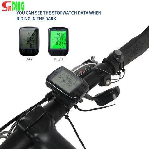 Velocímetro Ciclo Computador Bike Sensor Com Fio Luz Noturna - Foto 2
