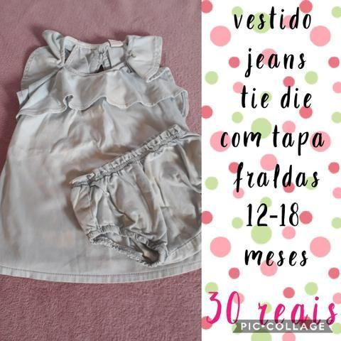 Vestido jeans tie die tamanho 12-18 meses