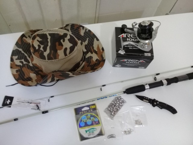 kit pesca molinete, vara, chumbo, linha, anzois, chapeu, canivete novos