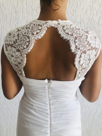 Vendo vestido branco longo. Usado uma vez. Social. - Foto 2