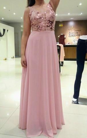 Vestido rosa de festa usado uma única vez!