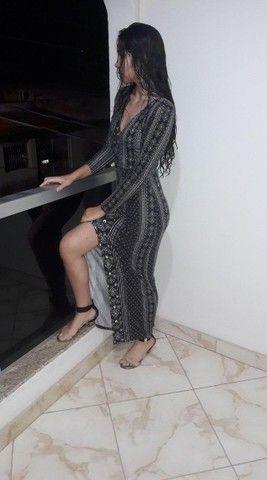 Vestido longo com manga
