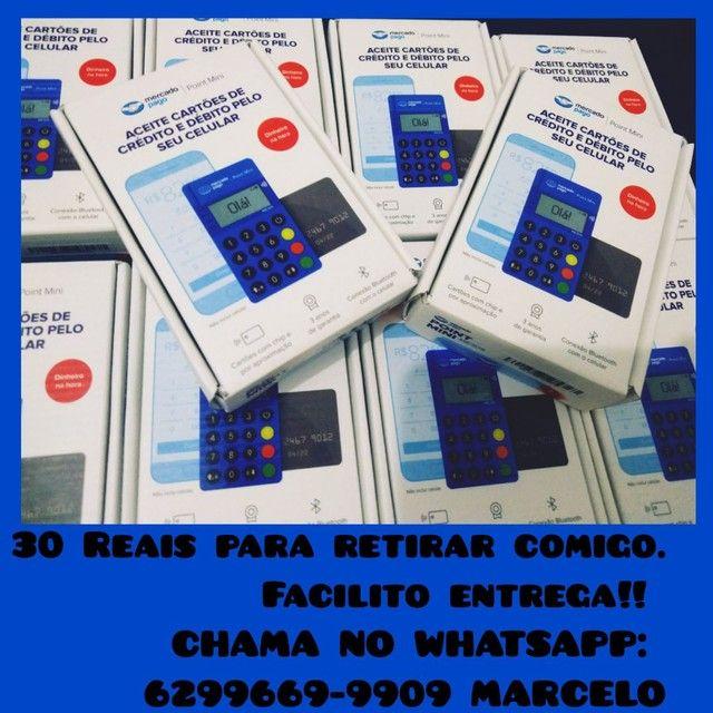 MÁQUINA DE CARTÃO POINT MINI BLUE MERCADO PAGO ACEITA CARTÃO POR APROXIMAÇÃO - Foto 2