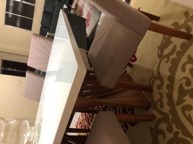 Mesa em laka branca e madeira maciça com console. - Foto 2