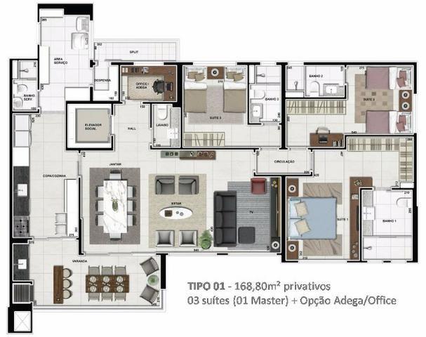 Apartamento Niovo 3/4 Sendo 3 Suites no Ed. Splendore da Plaenge - Foto 2