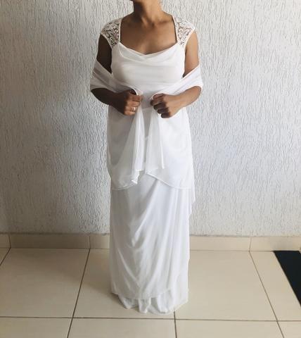 Vendo vestido branco longo. Usado uma vez. Social. - Foto 5