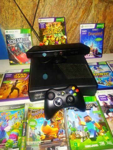 Xbox 360 Slim + Kinect + 10 Jogos