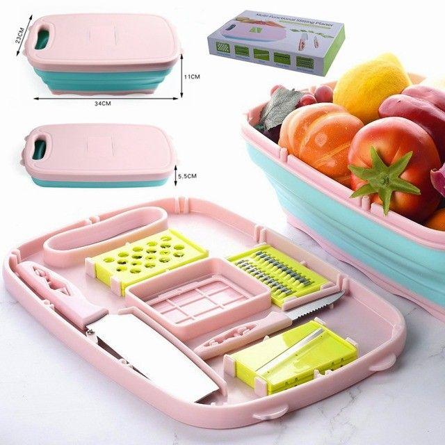 Tábua De Corte Multifunções 9 Em 1 Cozinha + Facas E Ralador - Foto 3