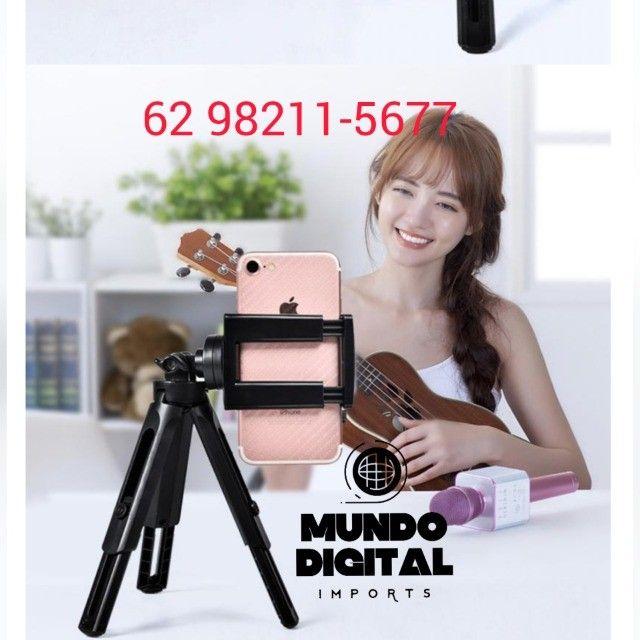 Kit YouTube 2 in 1 Mini tripé resistente mais Microfone lapela profissional - Foto 3