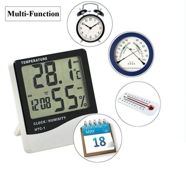 Termo Higrômetro Medidor Temperatura Umidade Relógio Digital - Foto 2
