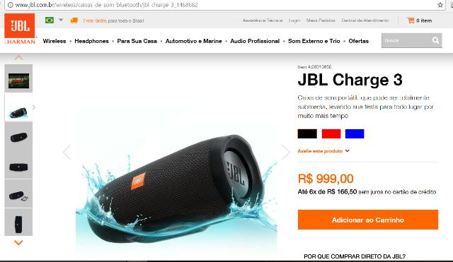 Speaker JBL Charge 3 original (nova)