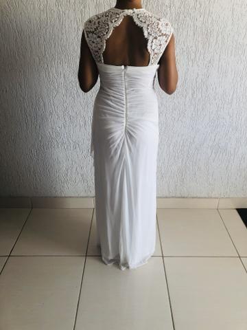 Vendo vestido branco longo. Usado uma vez. Social. - Foto 4