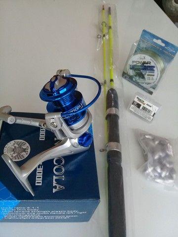 Kit pesca vara .molinete.chumbo.anzol.linha novos