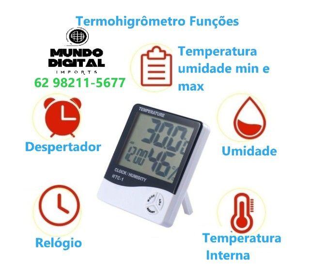 Termo Higrômetro Medidor Temperatura Umidade Relógio Digital - Foto 3